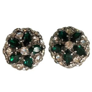 Vintage Rhinestone Emerald and Diamond Earrings